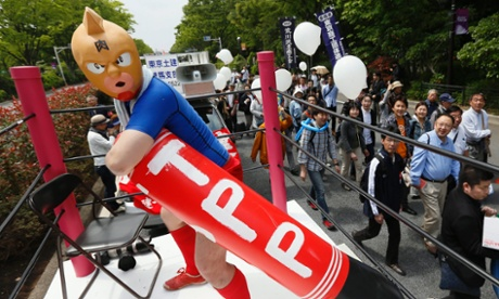 Japanese demonstrators protest the Trans-Pacific Partnership (TPP) after the May Day rally in Tokyo, Japan, 01 May 2013.