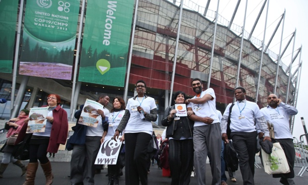 The heads of international environment and development NGOs and trade unions walk out of UN climate talks in Warsaw in protest at what they say is slow progress