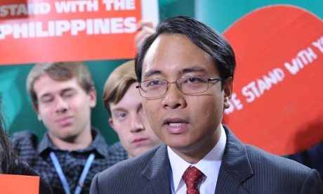 Phillipine delegate for climate negotiations Yeb Sano  delivers his global petition to delegates at the UN Climate Conference in Warsaw, backed by over 630,000 citizens around the world