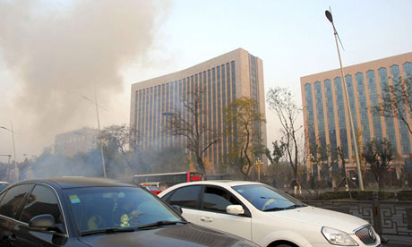 Smoke billows after multiple explosions outside  Communist party offices in Taiyuan, China