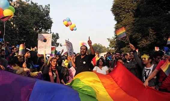 Gay rights activists protesting in New Delhi