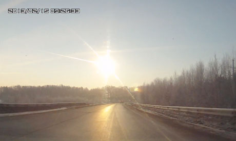 Screengrab of the meteorite that exploded over Russia on 15 February 2013