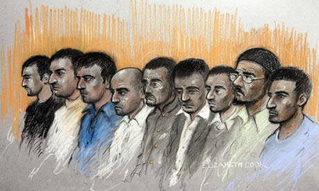 A court sketch of the defendants in the Oxford child abuse trial
