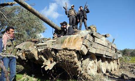 Tank abandoned by regime forces in Syria