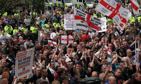 English Defence League march in Dewsbury
