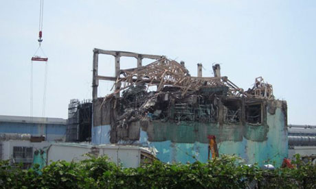 A damaged reactor building at the Fukushima power plant
