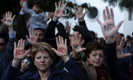 Cypriots show their palms reading