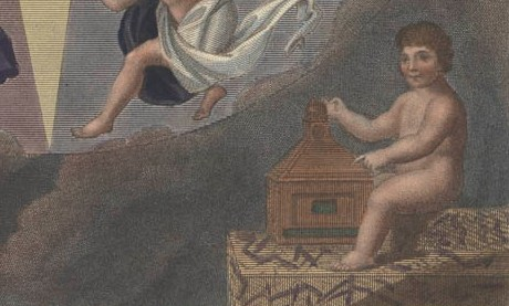Putti holding a camera obscura