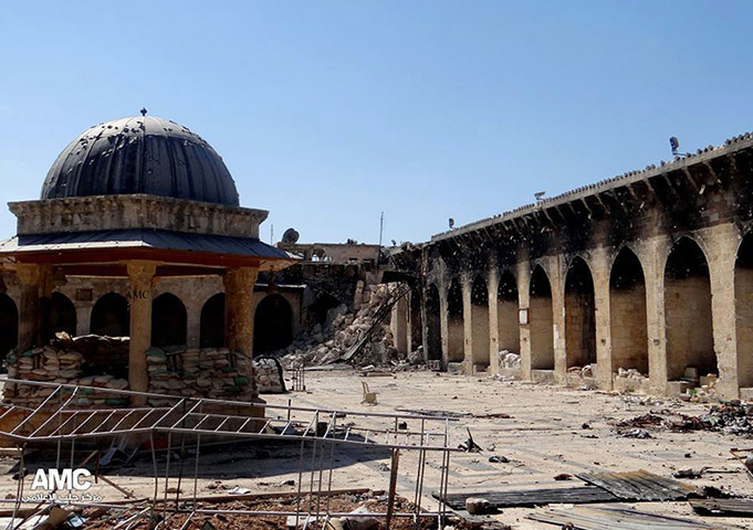 Aleppo mosque damage: Aleppo's iconic Umayyad Mosque