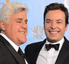 Jay Leno, left, will hand over NBC's Tonight Show to Jimmy Fallon.