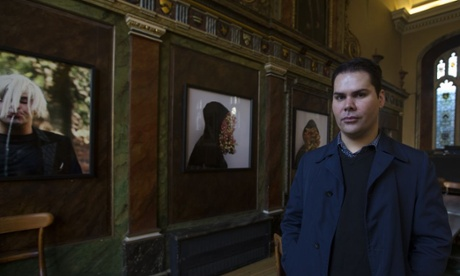 Christian Thompson with some of his art work at Oxford