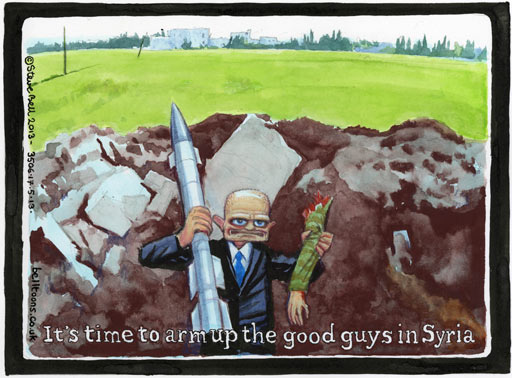 Steve Bell on Britain's policy on arming Syrian oppositionists – cartoon