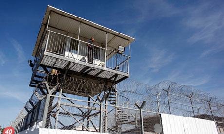 Prison guard keeps watch from tower at Ayalon prison