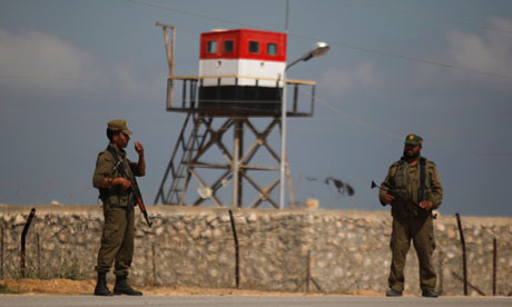 Hamas security guards on Gaza's border with Egypt