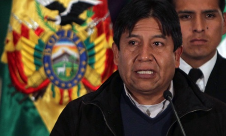 Bolivian Minister of Foreing Affairs, David Choquehuanca, speaks during a press conference in La Paz, Bolivia.