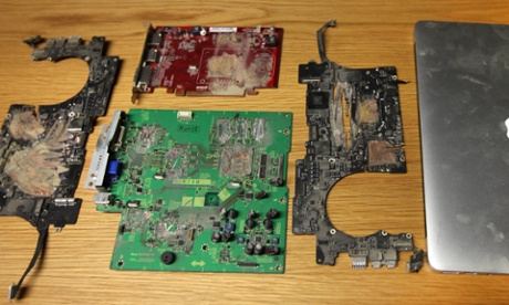 The remains of the hard disc and Macbook that held information leaked by Edward Snowden to the Guardian and was destroyed at the behest of the UK government.
