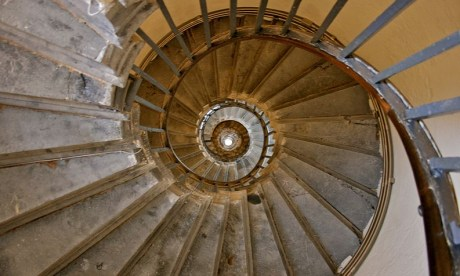 Staircase inside the Monument to the Great Fire of London