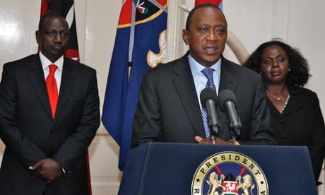 Kenya's President, Uhuru Kenyatta, makes a television address from State House in Nairobi.