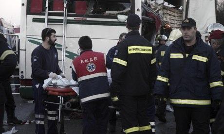 Greek emergency service personnel near Malgara,