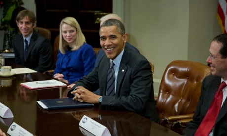 Barack Obama meets with technology executives at the White House. From left: Mark Pincus of Zynga, Marissa Maye of Yahoo!,  and Randall Stephenson of AT&T.