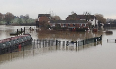The riverside at Tewkesbury, where the Severn has burst its banks