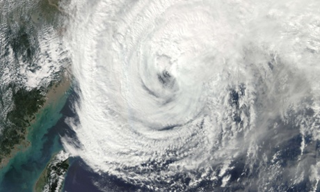 Nasa satellite image shows Typhoon Vongfong approaching Japan.