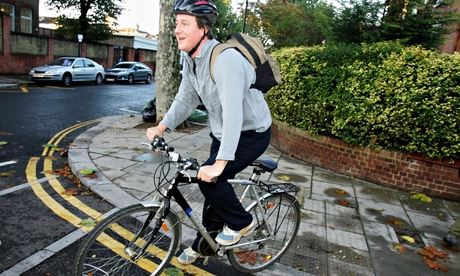 David Cameron on a bike, 2005. Photograph: Scott Barbour/Getty Images