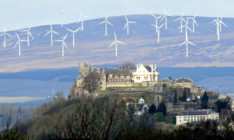 Braes of Doune wind farm behind Stirling Castle