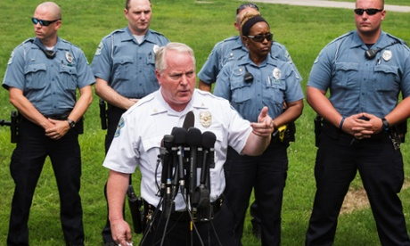 Ferguson Police Chief Thomas Jackson answers questions from the media.
