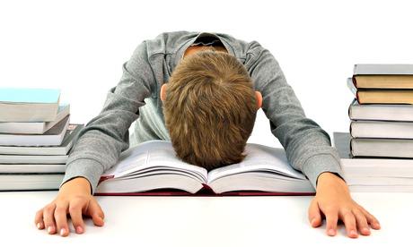 A boy sleeping among books