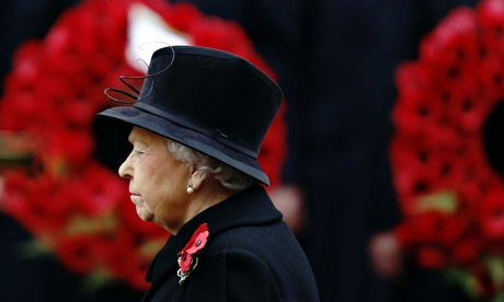 Queen Elizabeth at the 2014 Remembrance Sunday ceremony at the Cenotaph in London
