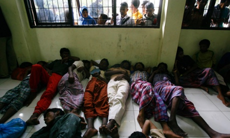 Rohingya asylum seekers in Aceh, Indonesia, last year.