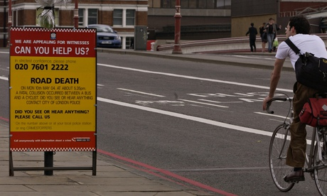 Road accident sign in London