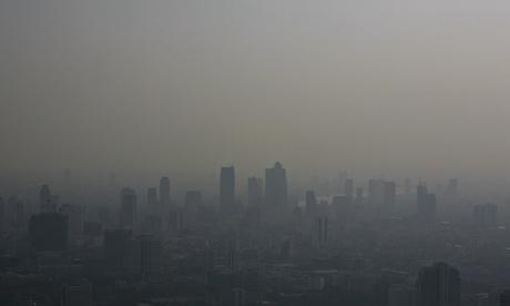 Bangkok's skyline blanketed in a haze