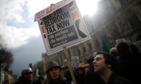 Protesters demonstrate against the bedroom tax.