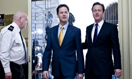 David Cameron with the Deputy Prime Minister, Liberal Democrat leader, Nick Clegg