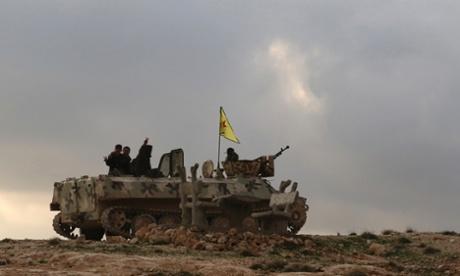 YPG fighters in Syria near Mt Sinjar