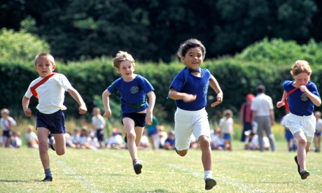 primary school children in running race