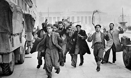 Communist partisans being arrested,  December,1944.