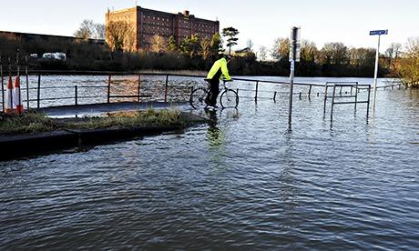 Flooding beside the River Avon in Bristol.