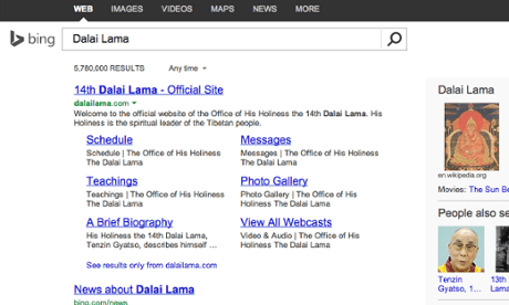 Dalai Lama search Bing English