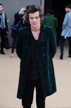 Harry Styles arriving for the Burberry Prorsum show