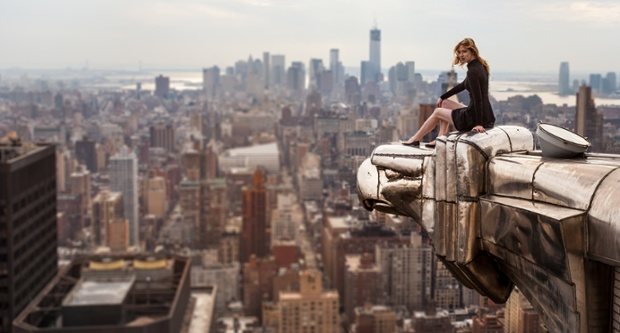 Lucinda perches on the eagle's head on the corner of New York's iconic Chrysler Building in Manhattan.