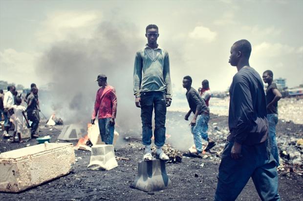 Rahman Dauda, 12, started working here three years ago and burns e-waste with a few friends