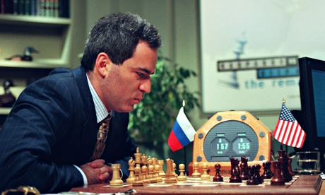 Garry Kasparov ponders a move against IBM's Deep Blue. Kurzweil predicted the computer's triumph.