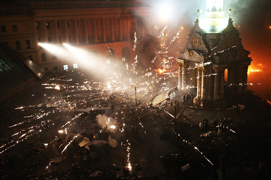 The anti-government protests at Independence Square in Kiev, Ukraine