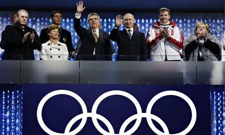 IOC President Thomas Bach and President Vladimir Putin attend the Closing Ceremony of Sochi 2014