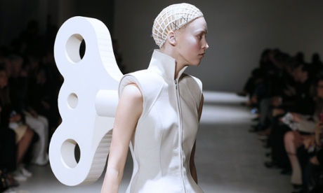A model presents a creation by Gareth Pugh during the 2014/2015 Autumn/Winter collection fashion show.