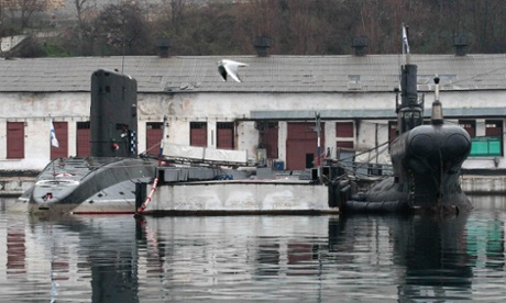 Russian military submarines are pictured at a navy base in the Ukrainian Black Sea port of Sevastopol, Crimea, February 27, 2014.
