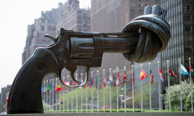 Non-Violence, or the Knotted Gun, by Swedish artist Carl Fredrik Reuterswärd, a gift from the Government of Luxembourg presented to the United Nations in 1988.